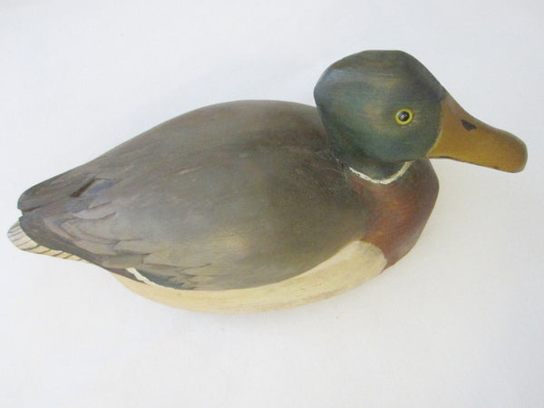 Duck Decoy Wood Carving Hand Painted Glass Eyes Artist Stamp - Designer Unique Finds   - 3