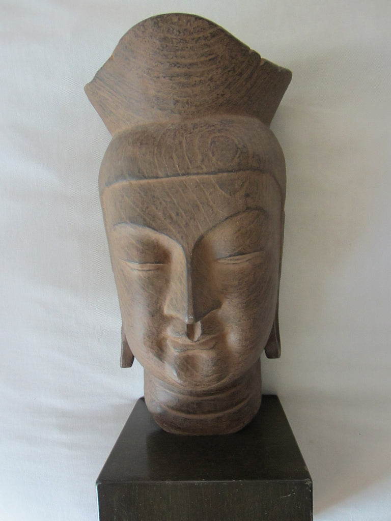 Buddha Head Miroku Busatsu Sculpture Bust Wood Stand - Designer Unique Finds   - 1