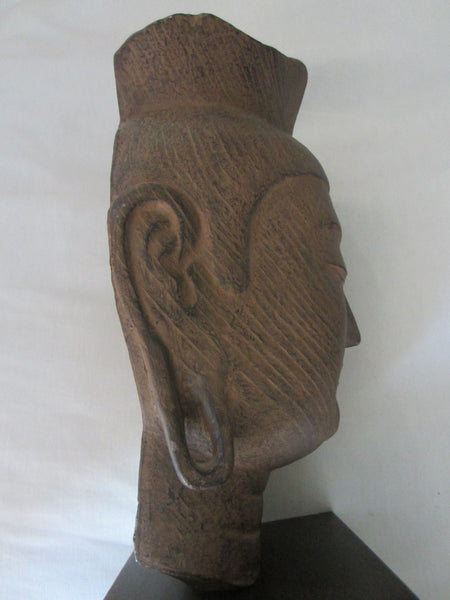 Buddha Head Miroku Busatsu Sculpture Bust Wood Stand - Designer Unique Finds   - 3