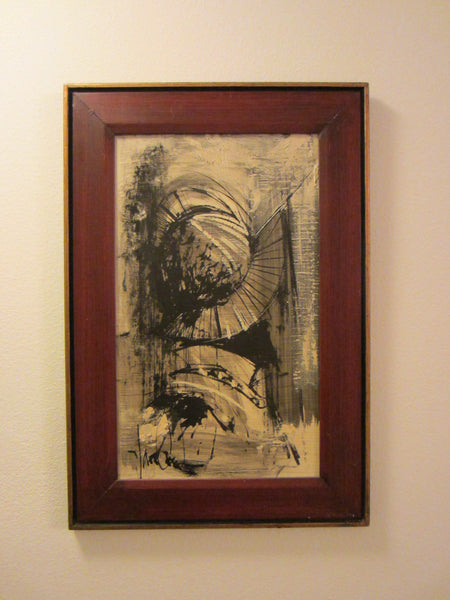 Abstract Van Gaard Mid Century Graphic Signed Oil On Board - Designer Unique Finds   - 2