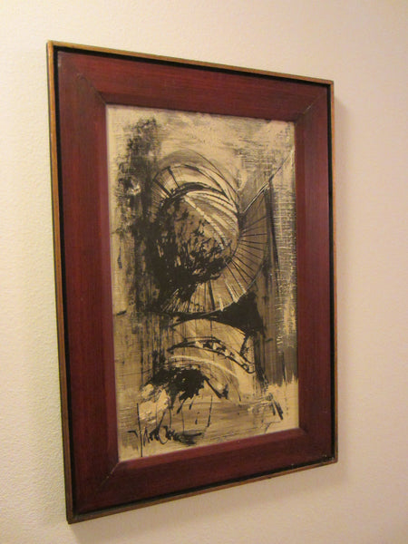 Abstract Van Gaard Mid Century Graphic Signed Oil On Board - Designer Unique Finds   - 5