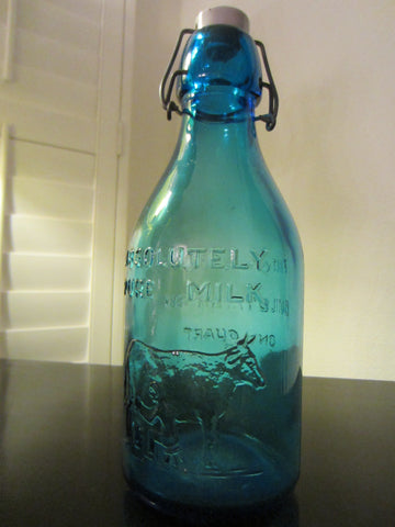 Absolutely Pure Milk Blue Blown Glass Decanter Made in Italy - Designer Unique Finds   - 1