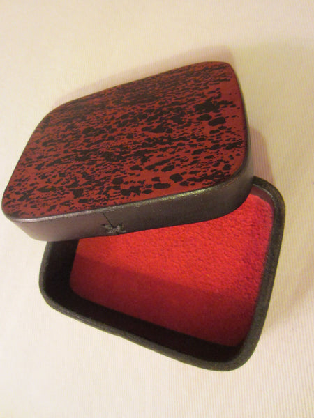Art Deco Red Leather Signed Jewelry Box Textile Lined - Designer Unique Finds   - 3