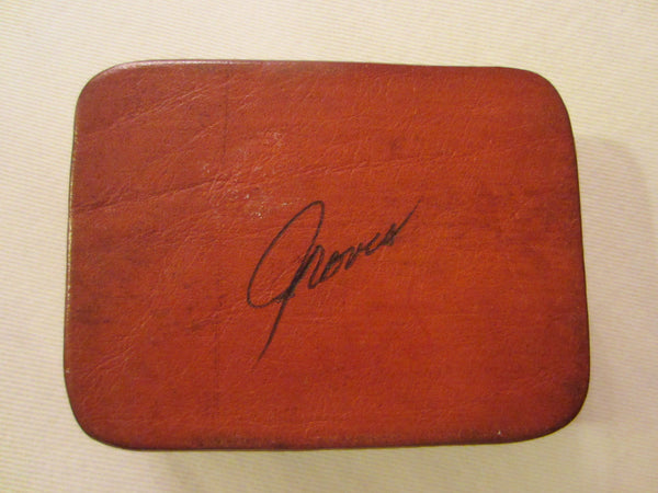 Art Deco Red Leather Signed Jewelry Box Textile Lined - Designer Unique Finds   - 4