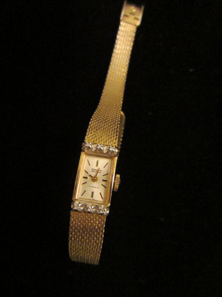 Gruen Percision Bracelet Watch Gold Plated Jeweled - Designer Unique Finds   - 4