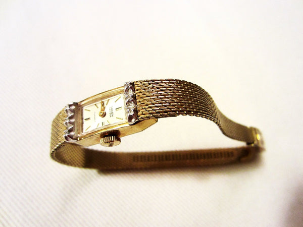Gruen Percision Bracelet Watch Gold Plated Jeweled - Designer Unique Finds   - 1