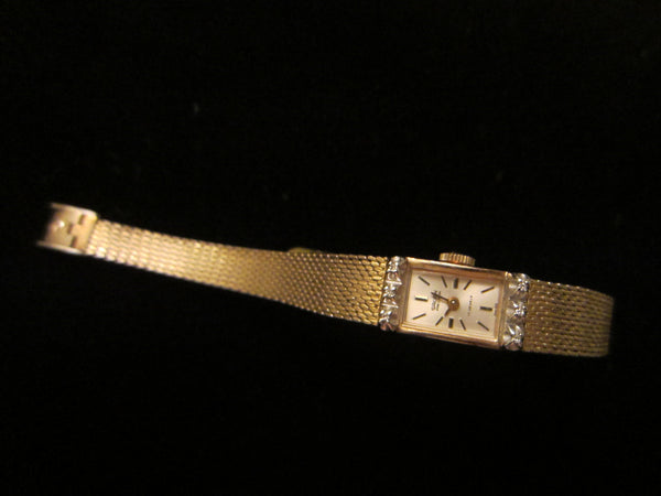 Gruen Percision Bracelet Watch Gold Plated Jeweled - Designer Unique Finds   - 3
