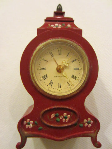 Westclox Burgundy Mantle Clock Hand Wind Alarm Footed Floral Medallion - Designer Unique Finds