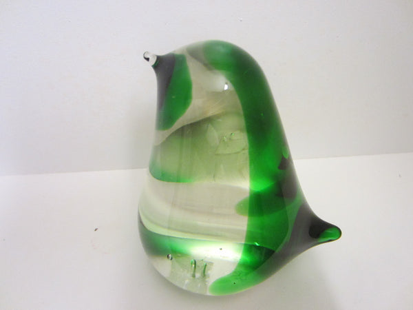 Green Sparrow Blown Glass Japan Paperweight - Designer Unique Finds