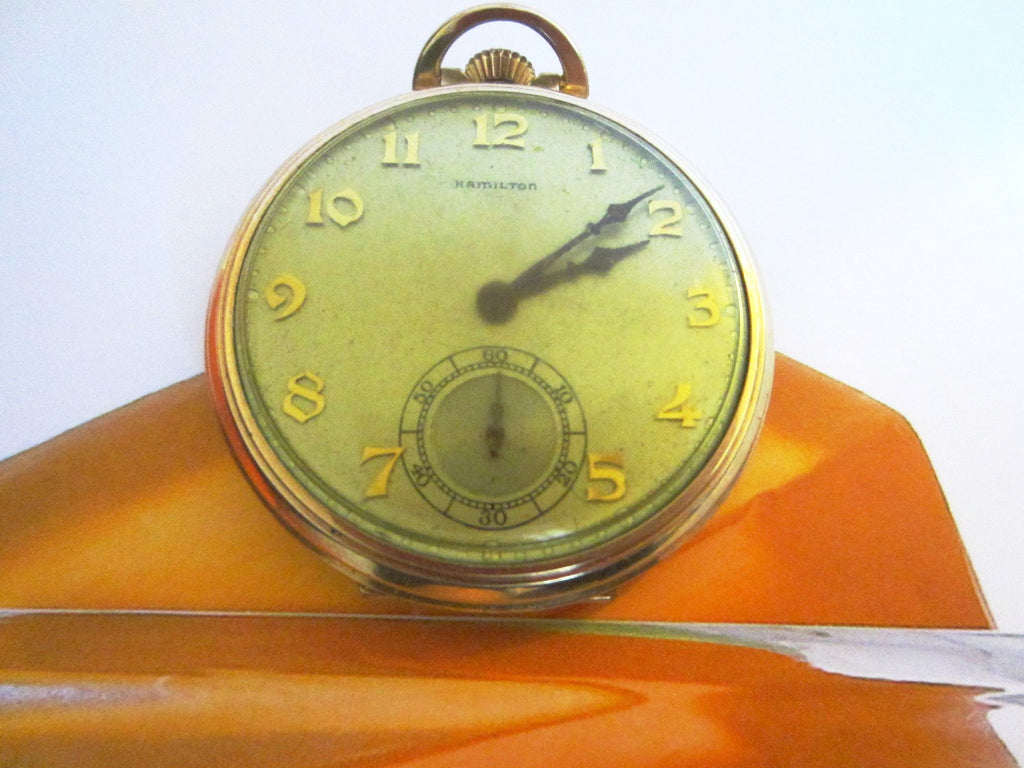 Hamilton Pocket Watch Wadsworth Case Gold Filled Scripted - Designer Unique Finds
