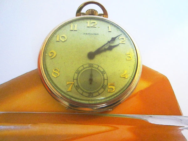 Hamilton Pocket Watch Wadsworth Case Gold Filled Scripted - Designer Unique Finds   - 1