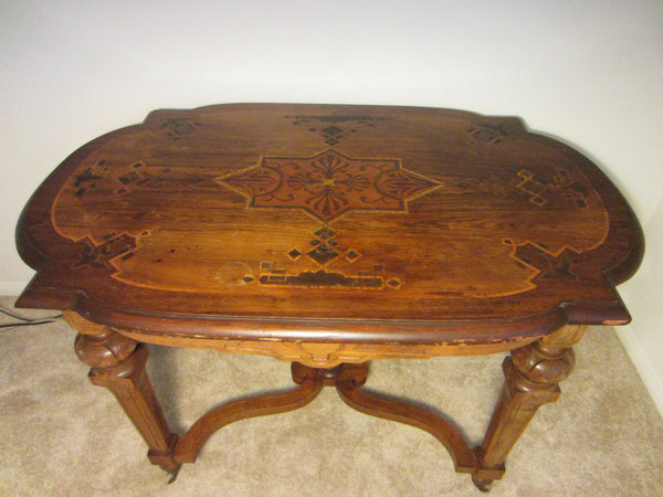 Antique French Library Table Walnut Marquetry Geometric Rolling Finial - Designer Unique Finds   - 1