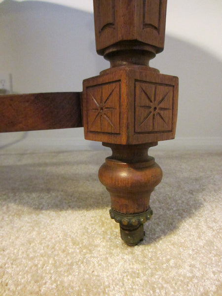 Antique French Library Table Walnut Marquetry Geometric Rolling Finial - Designer Unique Finds   - 4