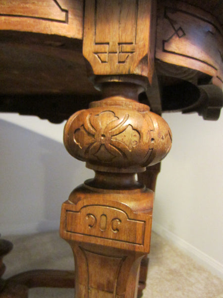Antique French Library Table Walnut Marquetry Geometric Rolling Finial - Designer Unique Finds   - 5