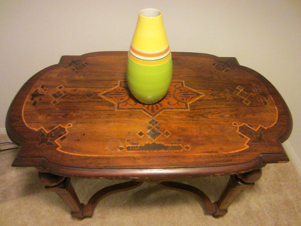 Art Deco Style French Walnut Library Rolling Table Inlaid Marquetry - Designer Unique Finds