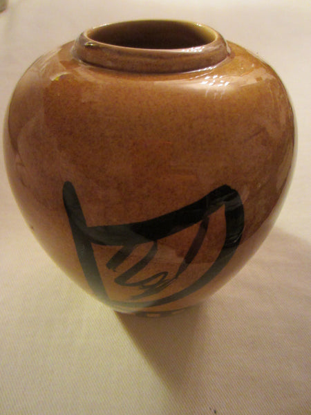 Ceramic Vase Double Canoe Hawaii By Elo Mustard Black Signed Pottery - Designer Unique Finds   - 2