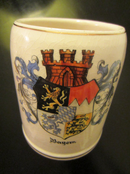 A Wilhelm Germany Bayern Region Coat Of Arm Ceramic Stein - Designer Unique Finds