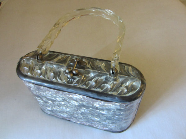 Lucite Retro Purse Pearl Style Gray Silver Cover Clear Decorated Handle - Designer Unique Finds
