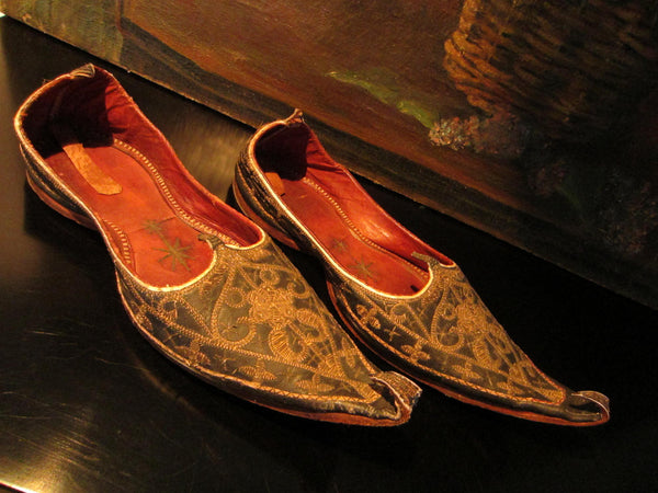 Traditional Tribal Shoes Gold Embroidered Leather Sole - Designer Unique Finds   - 3