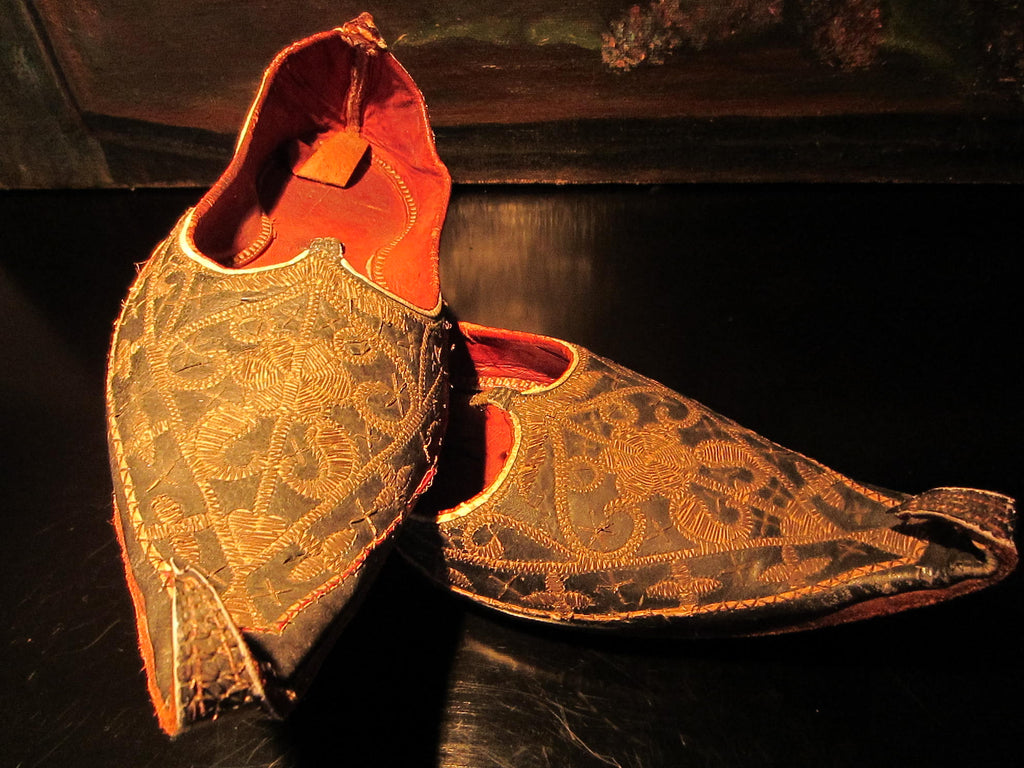 Traditional Tribal Shoes Gold Embroidered Leather Sole - Designer Unique Finds   - 1