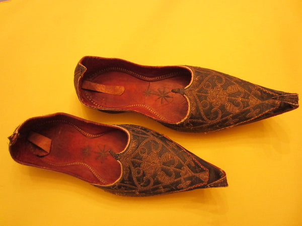 Traditional Tribal Shoes Gold Embroidered Leather Sole - Designer Unique Finds