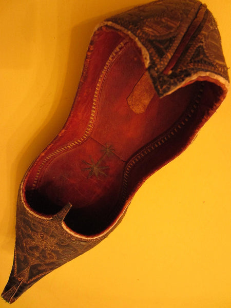 Traditional Tribal Shoes Gold Embroidered Leather Sole - Designer Unique Finds   - 6