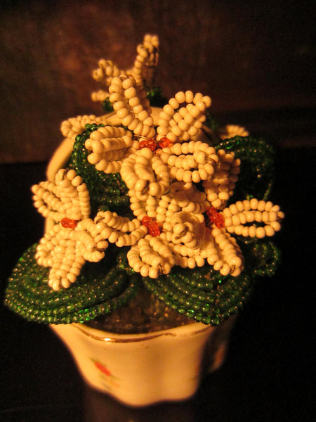 The Gilded Age Porcelain Flower Basket Beaded Planter - Designer Unique Finds