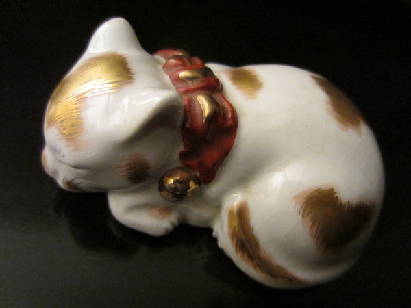 Japanese Ceramic Cat Signed Gold Decorated Red Accent Miniature Art - Designer Unique Finds