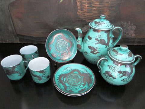 Brief Tea Set Turquoise Silver Dragon Attributed To Kanji Japan Porcelain - Designer Unique Finds   - 1