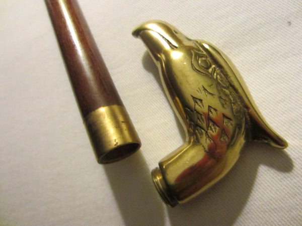 Bald Eagle Brass Head Handle Cane Mid Century Walking Wood Stick - Designer Unique Finds