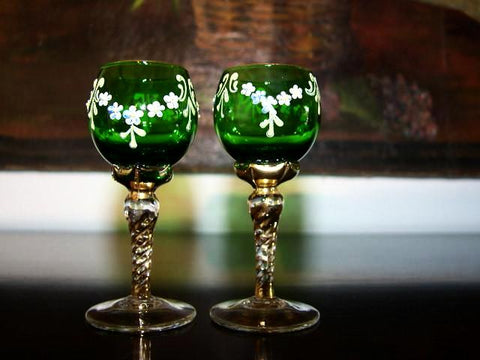 Cordial Green Hand Decorated Stemmed Glass Painted Gold White Flowers - Designer Unique Finds   - 1