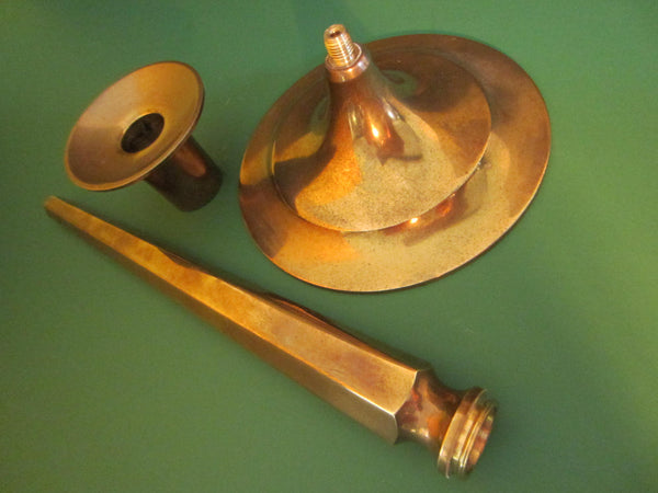 Federal Brass Candle Holders In Pair - Designer Unique Finds   - 1