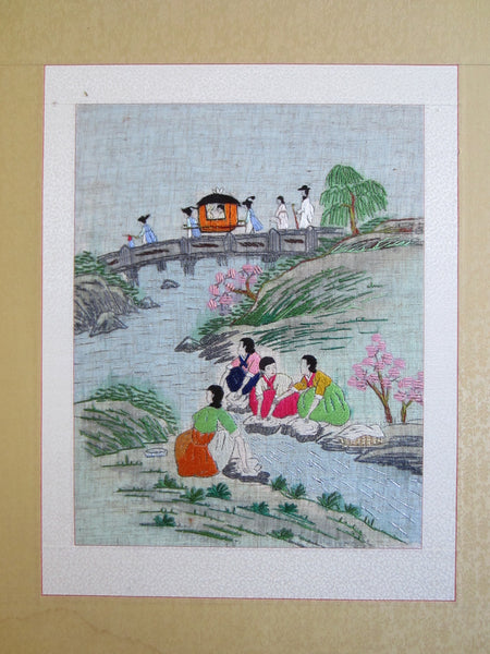 Asian Needlepoint Panels Two Fold Wood Screen Japanese Outdoor Scene - Designer Unique Finds   - 10