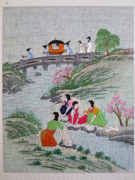 Asian Needlepoint Panels Two Fold Wood Screen Japanese Outdoor Scene - Designer Unique Finds   - 2