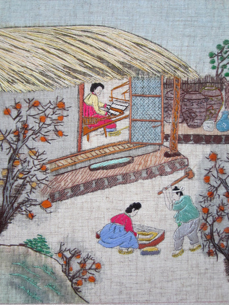 Asian Needlepoint Panels Two Fold Wood Screen Japanese Outdoor Scene - Designer Unique Finds   - 4