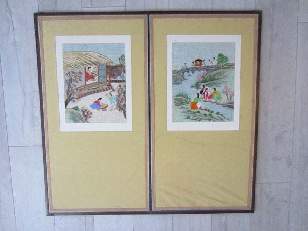 Asian Needlepoint Panels Two Fold Wood Screen Japanese Outdoor Scene - Designer Unique Finds   - 1