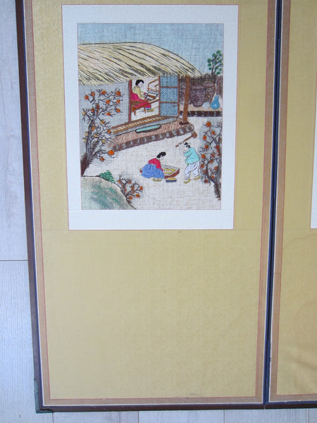 Asian Needlepoint Panels Two Fold Wood Screen Japanese Outdoor Scene - Designer Unique Finds   - 9