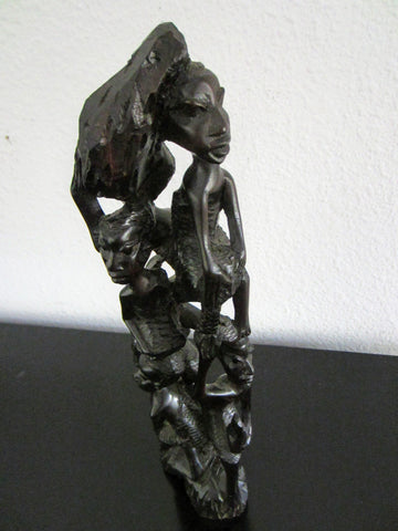 A Tree of Life African Ebony Statue Folk Art Tribal Figurative Sculpture