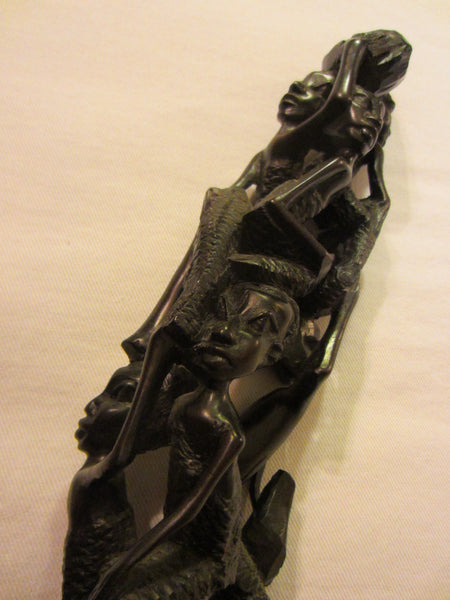 Tree of Life African Tribal Figurative Ebony Sculpture - Designer Unique Finds