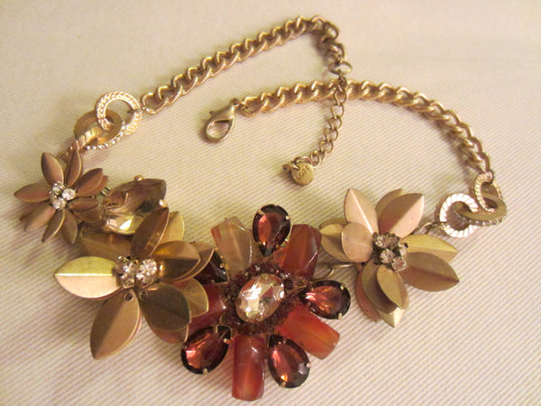 Statement Flower Necklace Choker Decorated Rhinestones Beads - Designer Unique Finds