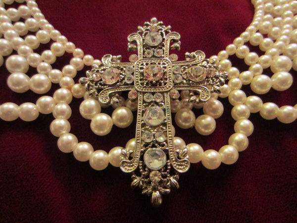 Folk Art White Pearls Beaded Bib Necklace Mid Century Added Statement - Designer Unique Finds