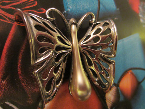 Tortolani Pewter Italian Butterfly Brooch - Designer Unique Finds   - 1