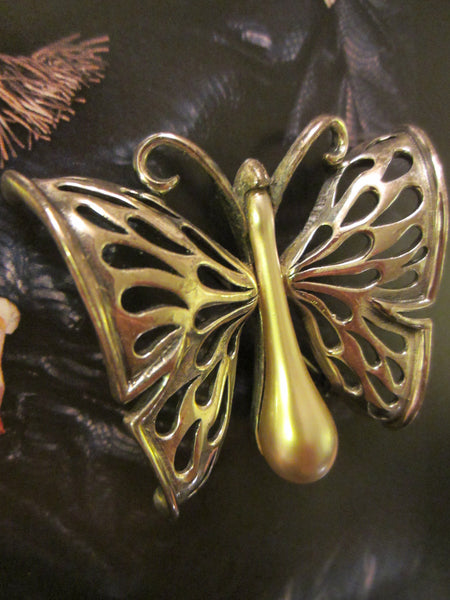 Tortolani Pewter Italian Butterfly Brooch - Designer Unique Finds   - 6