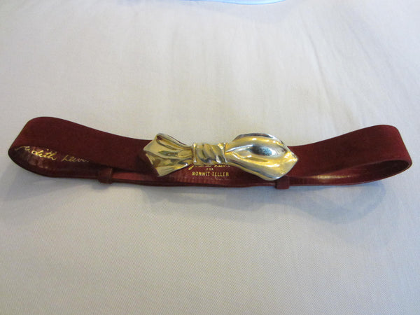 Judith Leiber For Bonwit Teller Red Leather Golden Bow Suede Belt - Designer Unique Finds