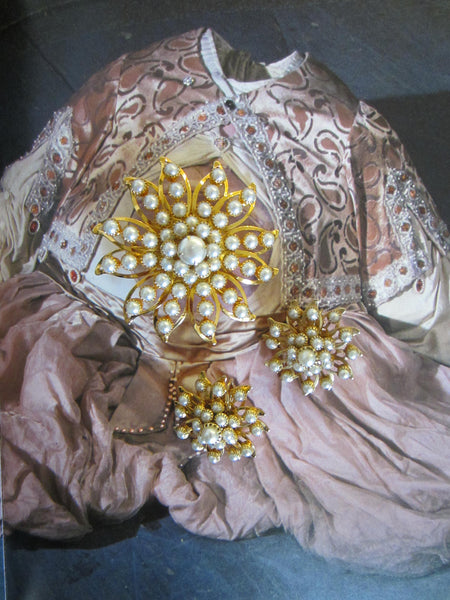 Judy Lee Starburst Brooch Clip On Earrings Signed Decorated Pearls - Designer Unique Finds   - 7