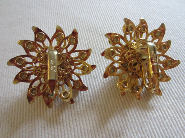 Judy Lee Starburst Brooch Clip On Earrings Signed Decorated Pearls - Designer Unique Finds   - 6