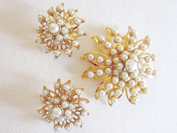 Judy Lee Starburst Brooch Clip On Earrings Signed Decorated Pearls - Designer Unique Finds   - 1