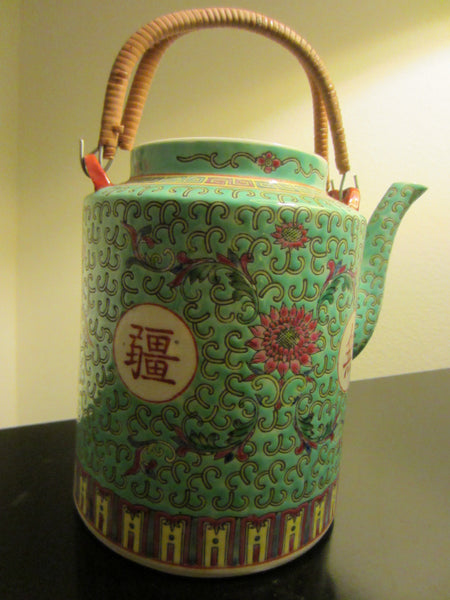 Turquoise Porcelain Teapot Majolica Floral Republic of China - Designer Unique Finds   - 2