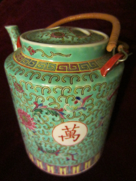 Turquoise Porcelain Teapot Majolica Floral Republic of China - Designer Unique Finds   - 1