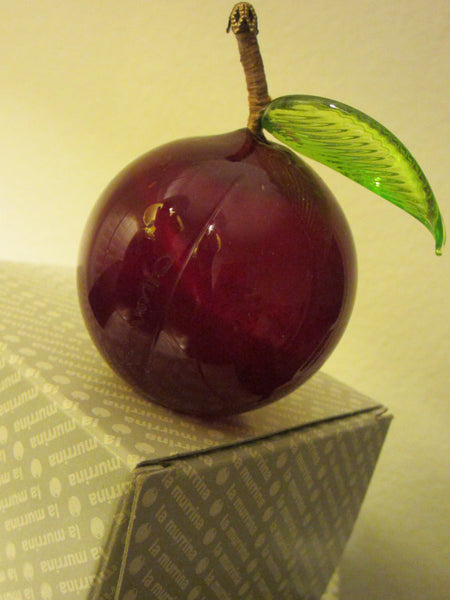 La Murina Glass Plum Ornament Signed by Italian Glass Maker - Designer Unique Finds